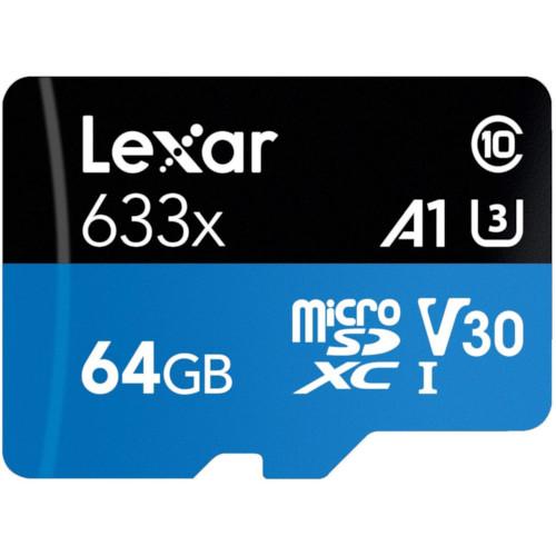 Lexar 64GB High Performance 633x UHS I microSDXC Memory Card 3 1